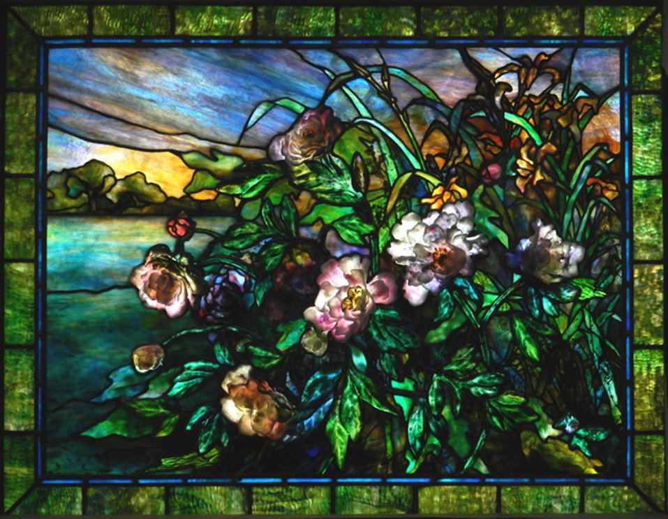 "Peony and Lily window | 60"" x 36"""