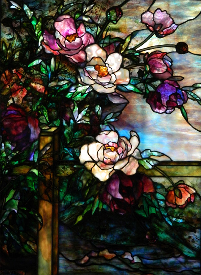 "Peony On Fence window | 28"" x 38"""